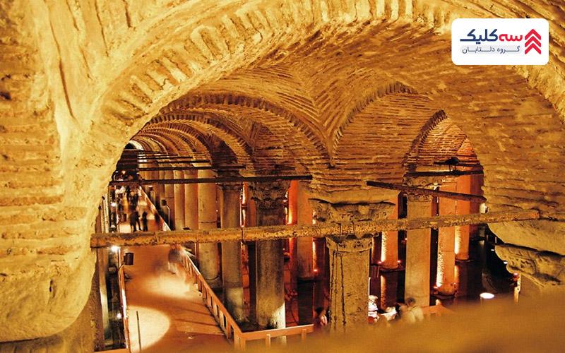 یکی دیگر از از جاذبه های گردشگری استانبول آب انبار تاریخی باسیلیکا
