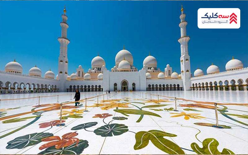 نمای مسجد جامع شیخ زاید از جاذبه گرشگری ابوظبی