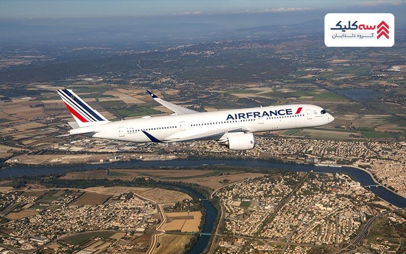 نمایی از هواپیمای ایر فرانس در آسمان
