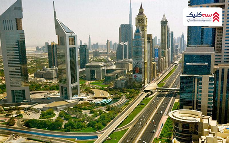 چشم اندازی از نمای کلی دیدنی های دبی و خیابان های شهر
