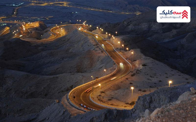 تصویری پانوراما از شهر و صحرا که از جاذبه گردشگری العین میباشد